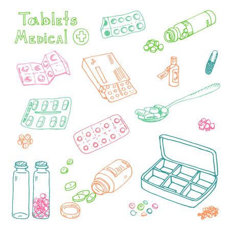 vector Illustration box to receive prescription pills, drugs, medical tablets. Hand drawn Illustration