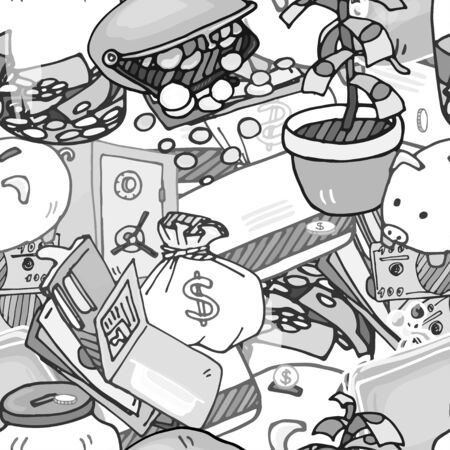 style wealth: Seamless pattern illustration of money, keeping money, wealth, wealth accumulation, black and white illustration in the style of comics.
