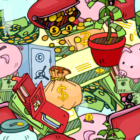 style wealth: Seamless pattern illustration of money, keeping money, wealth, wealth accumulation, bright and colorful illustration in the style of comics.