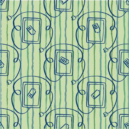 seamless pattern tablet with plug connection ready to get power, charging,  vector illustration hand drawn Vector