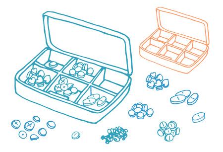 pastil: vector Illustration box to receive prescription pills, drugs, vector. dosage