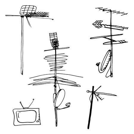 Vector illustration Set of silhouettes of different television aerials Çizim