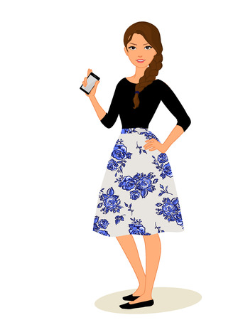 携帯電話で女の子をかわいい漫画ベクトル イラスト