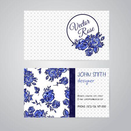 flowers horizontal: Vector blue line art flowers horizontal frame pattern business cards set