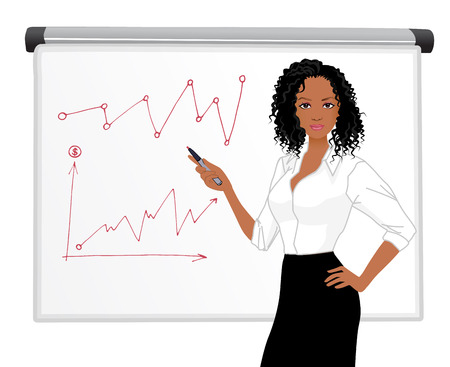 Businesswoman character presentation with blackboard screen sign isolated vector illustration african woman Vector