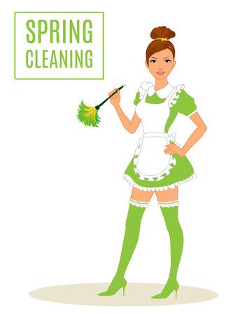 Sexy Maid, Frühjahrsputz Frau Lady Abstauben Standard-Bild - 39268745