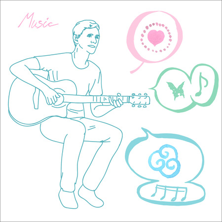 young man musician guitar player sitting and playing the guitar, vector illustration Vector