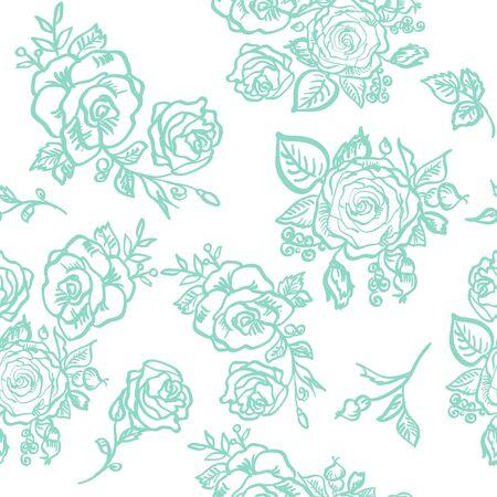 blue rose: seamless pattern blue rose branch decorative vector illustration