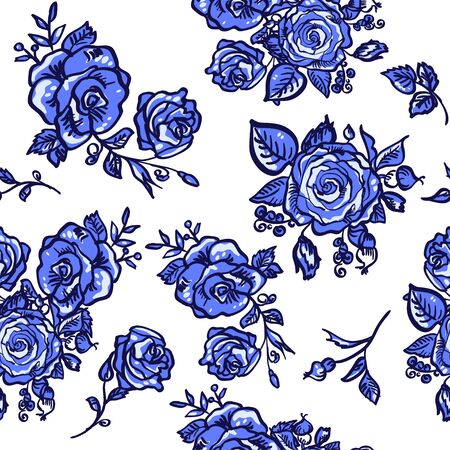 seamless pattern blue rose branch decorative vector illustration Vector