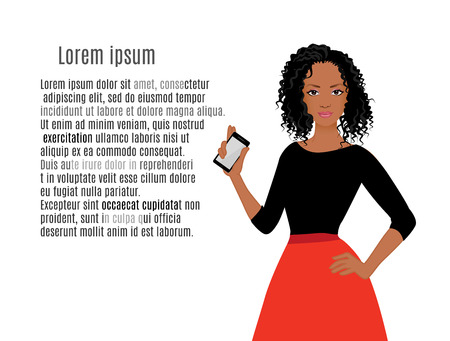 African American girls with mobile phone vector illustration