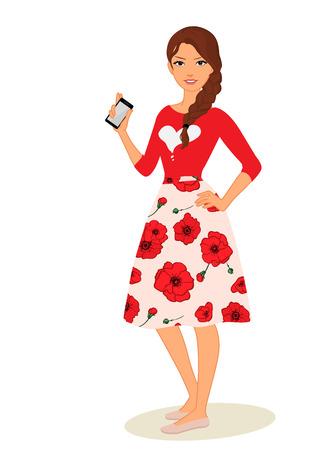 cute cartoon girls with mobile phones vector illustration Stock Illustratie