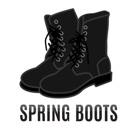 foot soldier: vector cartoon black army style spring boots