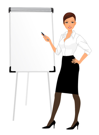 Businesswoman character presentation with office board screen sign isolated vector illustration
