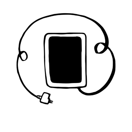 tablet with plug connection ready to get power vector illustration hand drawn Vector