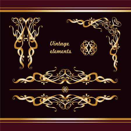 Golden vintage borders and dividers set for ornate and decorations. Vector