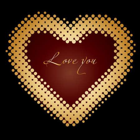 golden heart: Golden heart for Valentines Day