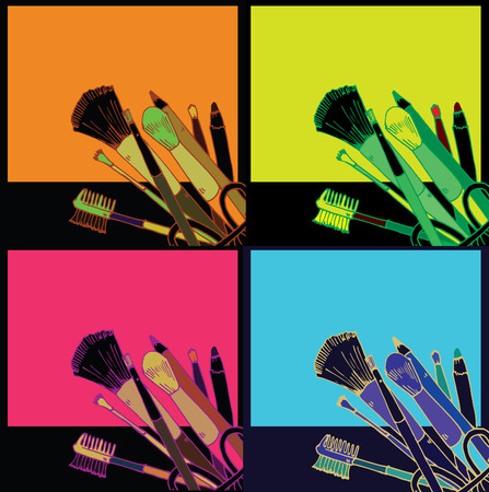 warhol: Makeup products  hand drawn vector illustration in the style of pop art Illustration