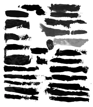 A collection of black grungy abstract hand-painted brush strokes photo
