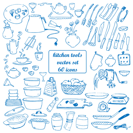 kitchen tools vector doodles collection blue color Stock Illustratie