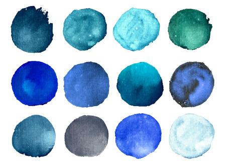 marcos redondos: Colorido vector aislado c�rculos de pintura de acuarela