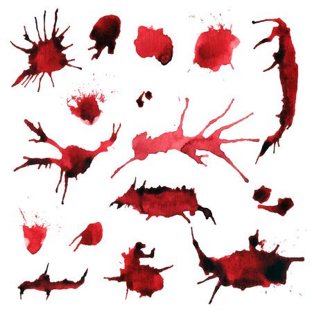 blood stain: Blood color red splash vector design elements. Illustration