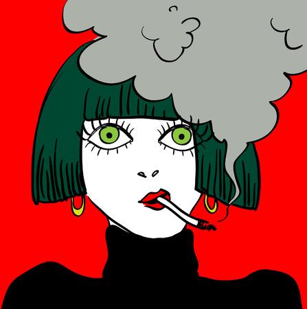 girl smoking: Fumar chica caricatura cara de dibujos animados ilustraci�n, mal h�bito