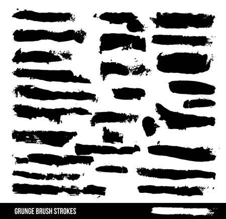 A collection of black grungy abstract hand-painted brush strokes. vector file Vector