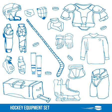 elbow pads: Set of a ice-hockey equipment sport icon vector illustration