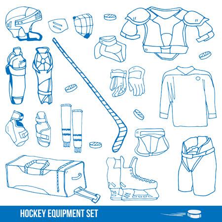 Set of a ice-hockey equipment sport icon vector illustration
