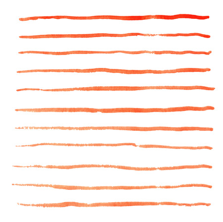 Watercolor red stripes strokes hand drawn vector elements Illustration