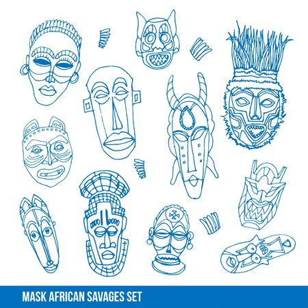 visard: Collection of african mask, vector hand drawn illustration
