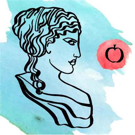 diosa griega: La antigua diosa griega del amor, vector, aislado en blanco Vectores