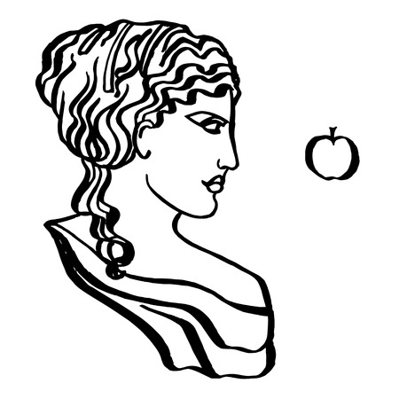 The ancient Greek goddess of love, vector, isolated on white