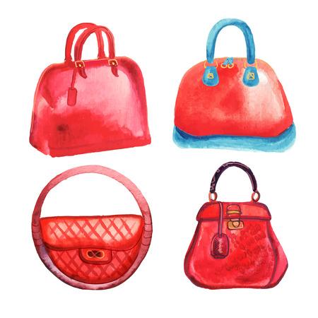 Trendy womens handbags watercolor hand drawn vector illustration Stock Illustratie