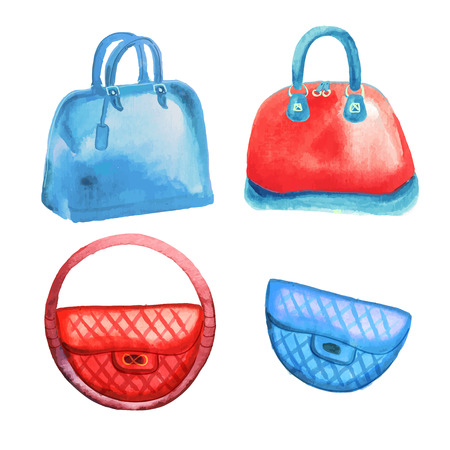 Trendy womens handbags watercolor hand drawn  vector illustration 向量圖像