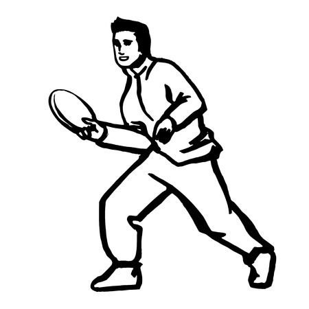 throwing: Man throwing flying disc vector illustration black Illustration