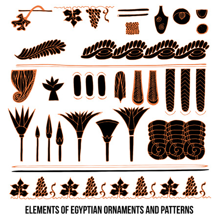 ancient civilization: Elements of Egyptian ornaments and patterns colored vector