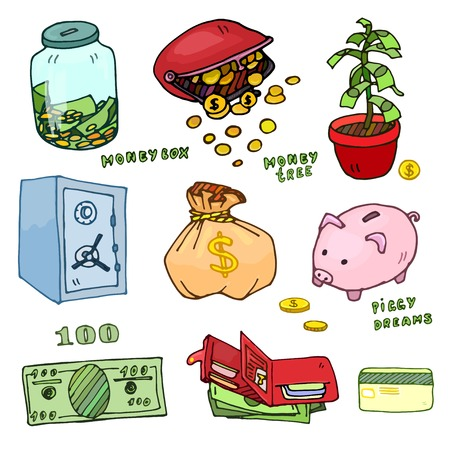 Set of cartoon illustrations of items for storage of money, color option Vector
