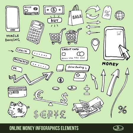 bank cart: Infographics elements of the mobile bank or online store Stock Photo