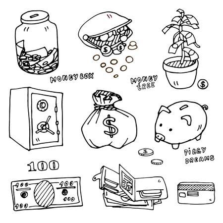 doodle art: Set of cartoon illustrations of items for storage of money, vector outline option Illustration