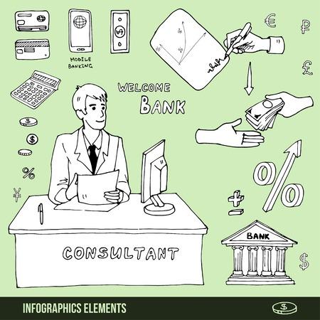 Elementos de la infografía acerca de visitar el banco, préstamo o de firmar un contrato Foto de archivo - 40527799