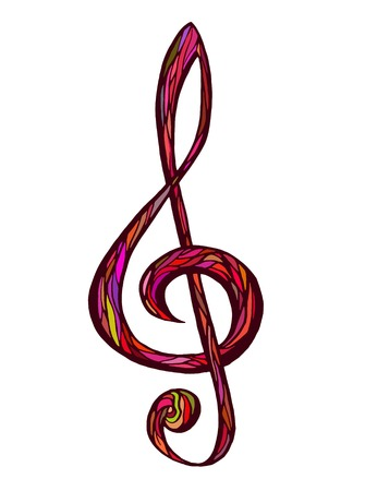 illustratin: Colorful music background, treble clef vector illustratin