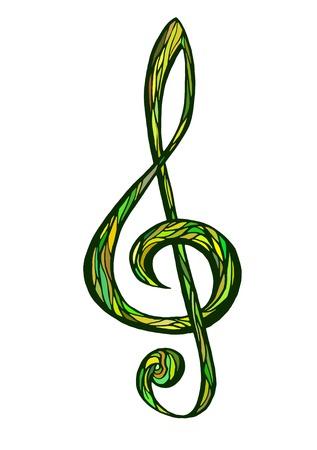 illustratin: Colorful music background, treble clef vector illustratin
