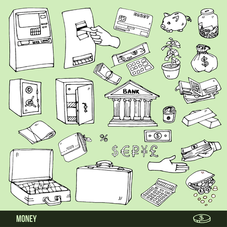 Set of cartoon illustrations of items for storage and receiving money, vector outline option Vector