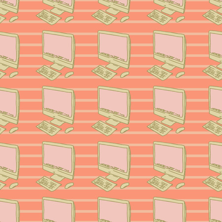 Modern stylish personal computer, vector illustration, background, seamless pattern Vector
