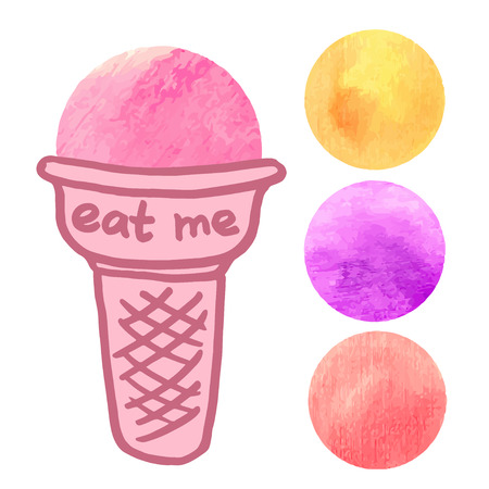 eat me: scoops of ice cream in a waffle cup, watercolor elements hand-drawn, vector illustration, melon, strawberry, collection