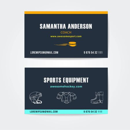 personal protective equipment: Business or visiting cards vector design for trainers and sport equipment. Trendy colors