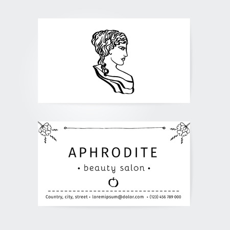 beauty surgery: design of business cards for beauty salon, hairdressers or plastic surgery with icon Aphrodite, ancient goddess of love Illustration