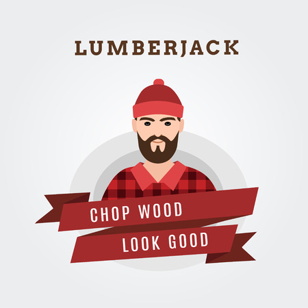 Vector Illustration of a lumberjack forester logger  with scroll done in retro style 向量圖像
