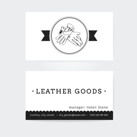 haberdashery: Business card design  vector template of haberdashery, womens accessories, clothes , black and white color Illustration